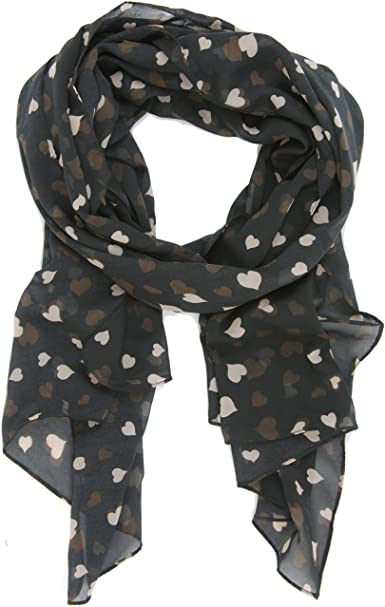P2P Happy Valentines Day Scarf ~ Hearts In Various Sizes and Color With Love Inscribed Perfect for Valentines Day