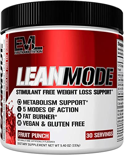 Evlution Nutrition Lean Mode Stimulant-Free Weight Loss Supplement with Garcinia Cambogia, CLA and Green Tea Leaf Extract, 30 Servings Fruit Punch