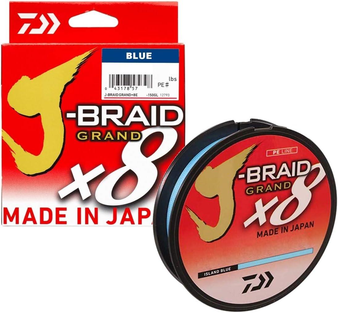 12796118 D.0.18mm Tresse 8 Brins J-Braid Grand X8 Bleu R.12.5kg Daiwa 270m