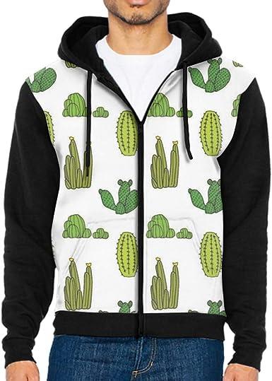 Mens Sloth Cactus Full Zip Up Hoodie Jacket With Pocket