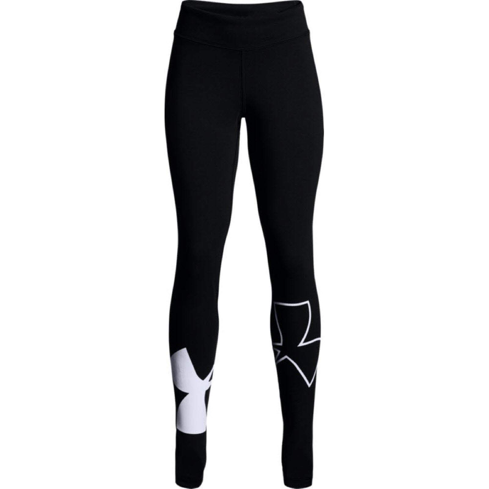 Under Armour Kids Girl's Favorite Knit Leggings (Big Kids) Black/White X-Large by Under Armour
