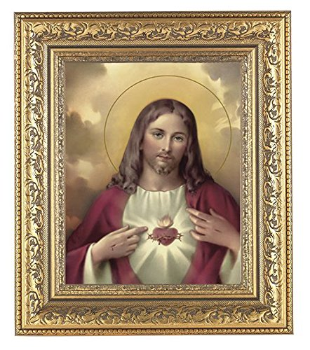 Sacred Heart of Jesus Print in a Beautifully Detailed Ornate Gold Leaf Antique 12 1/2