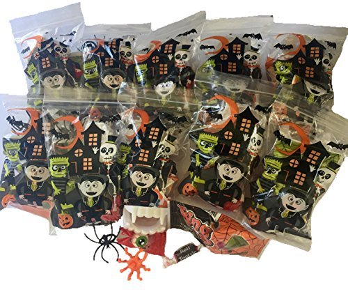 Halloween Party Treat Goody Bags - Filled with Toys, Candy Ring Pops, Vampire Teeth, Gum Eyeballs, Spider Rings, Tootsie Rolls, and More. 10 Assembled Trick or Treat Bags Bundle (Gummy Treat Teeth)