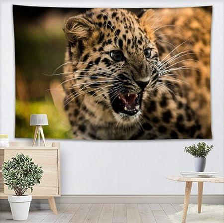 YUYINGXIANG Roar Leopard Animal Tapiz de Pared Yoga Oficina ...