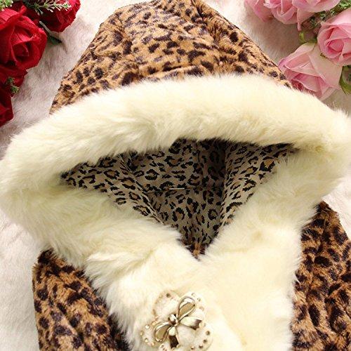 EGELEXY Baby Girls Faux Fur Leopard Hoodies Coat Kids Winter Warm Jacket 3/4T Leopard by EGELEXY (Image #3)