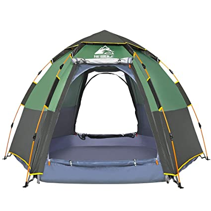 brand new 293eb 5cc24 Hewolf Camping Tents 2-4 Person [Instant Tent] Waterproof [Pop up Tent]  Quick Set up Family Beach Dome Tent UV Protection with Carry Bag