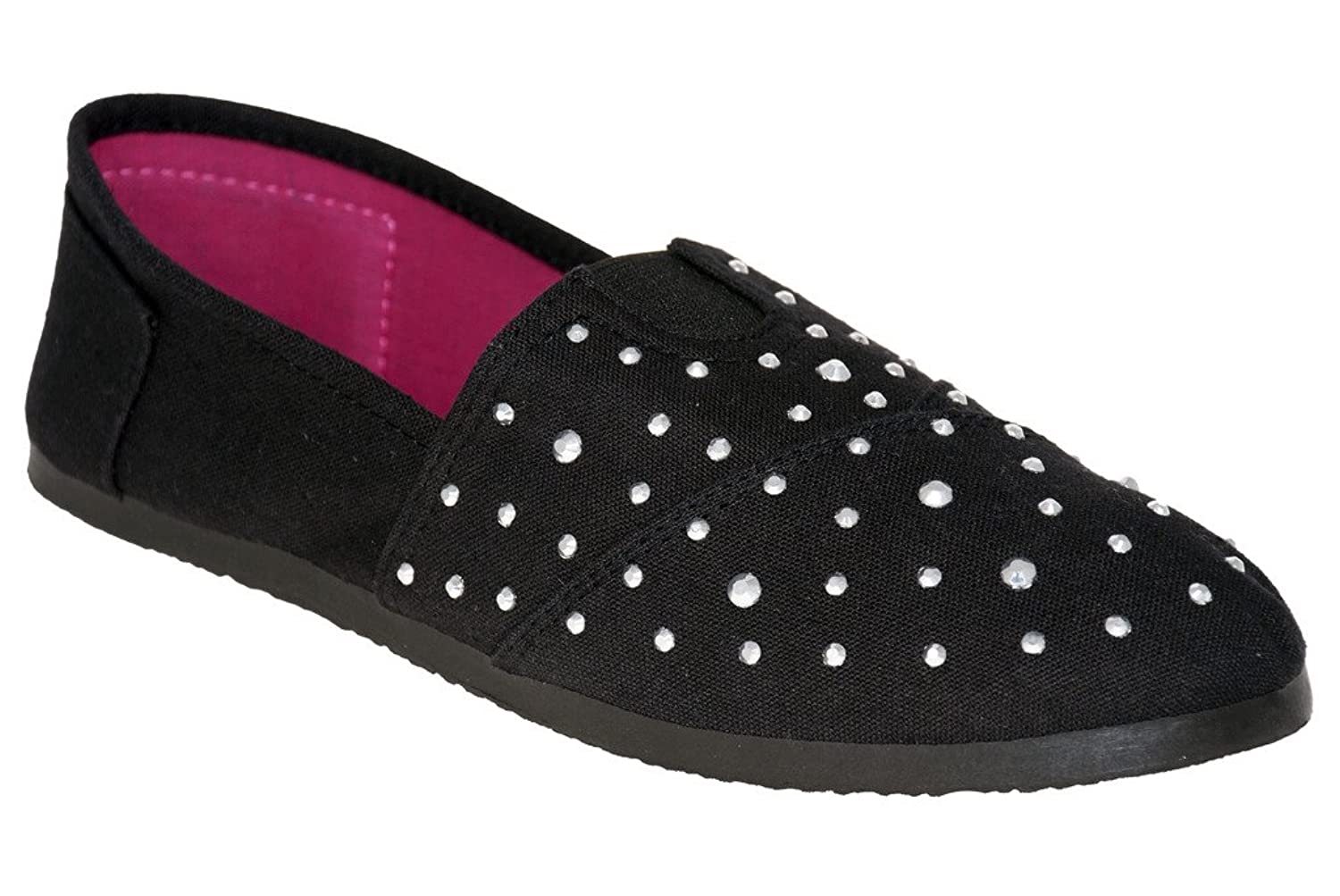 Sweet Women's Canvas with Studs, BLACK-FUCHSISA