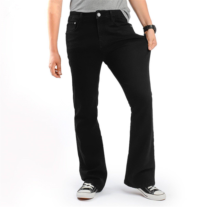 Phillip Dudley Men'S Slim Bootcut Stretch Jeans Classic Black Denim Flare Jeans Boot Cut Plus Size