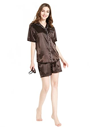 Silky Satin Pajamas for Women, Short Button-Down PJ Set with Mask, Brown