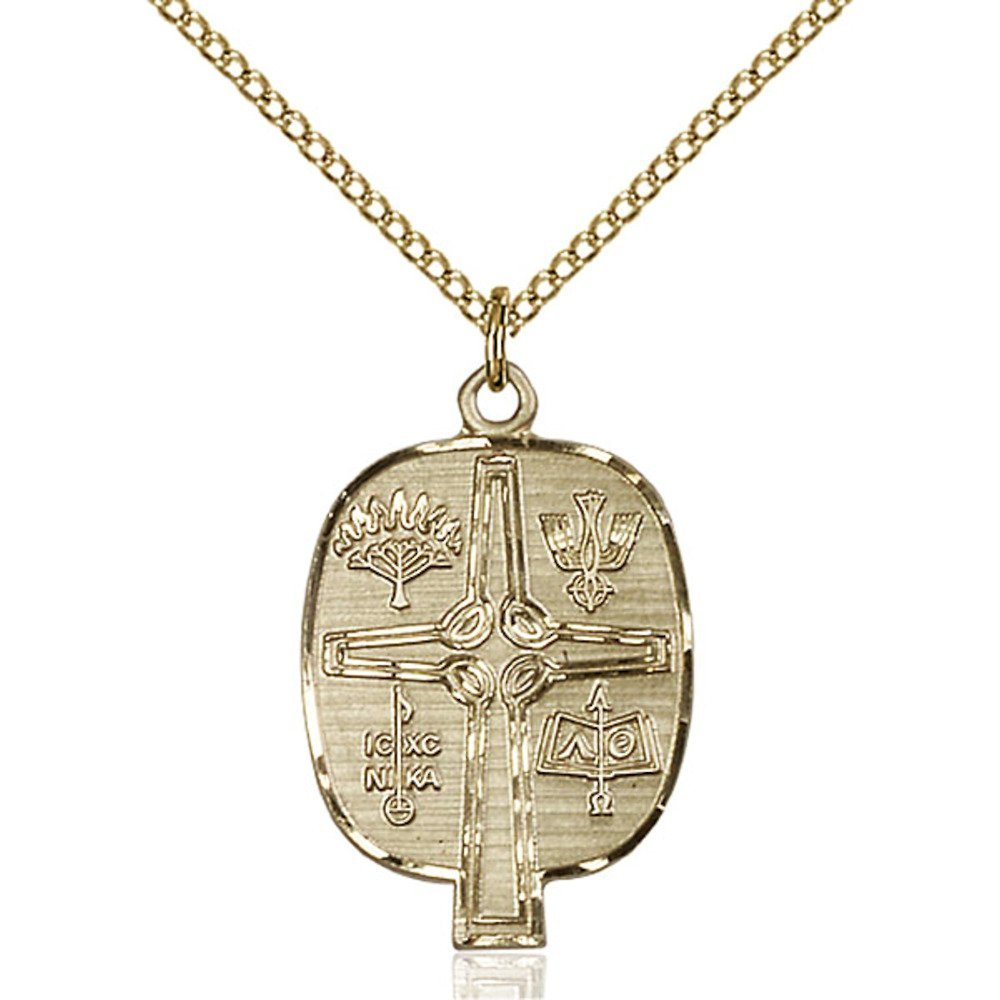 Gold Filled Women's PRESBYTERIAN Pendant - Includes 18 Inch Light Curb Chain - Deluxe Gift Box Included by Bonyak Jewelry Saint Medal Collection