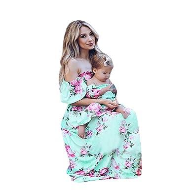 55845f398c84 BUSIM Girl s Floral Maxi Dresses Mommy &Me Children Floral Print Ruffles  Off Shoulder Dress Family X