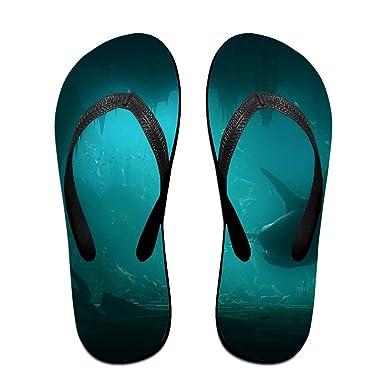 Couple Flip Flops Sharks Undersea Print Chic Sandals Slipper Rubber Non-Slip Beach Thong Slippers