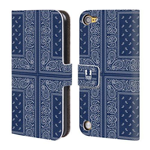 Head Case Designs Croce Blu Paisley Bandana Classica Cover a portafoglio in pelle per iPod Touch 5th Gen / 6th Gen