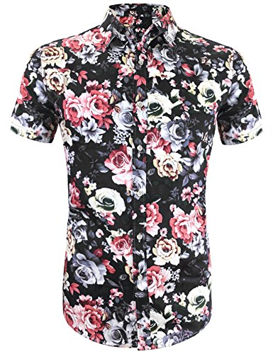 Daupanzees Men's Hawaiian Shirts Floral Hawaiian-Print Button-Front Aloha Straight Fit Tropical Short Sleeve Spread Collar Button Down Shirt (Black ()