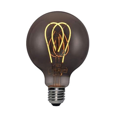 Bombilla LED gris ahumado G95 Twin Loop E27 5 W 2000 K bombilla Edison Vintage bola