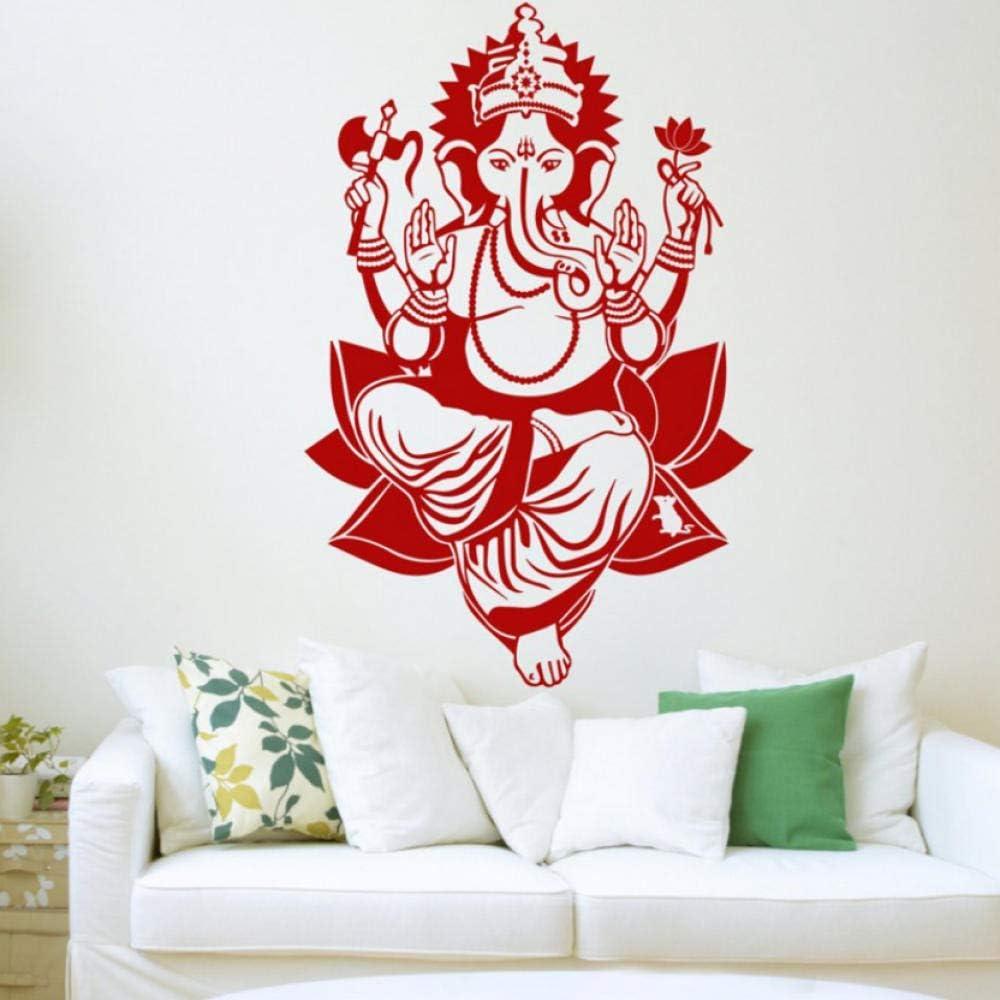 YHKZGM Lord Ganesh Wall Sticker Lord Ganapati Vinyl Hindu God Elephant Decal Stencil Art Gift for Living Room Waterproof Wallpaper 42X64Cm