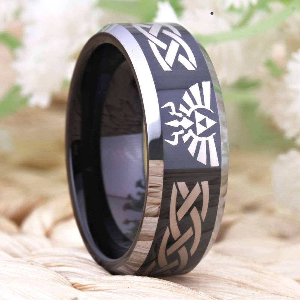 Wolf Link Ring Tungsten Carbide Wedding Bands Ring Silver//Blue//Black Cloud Dancer Free Custom Engraving Three Colors The Legend of Zelda Ring