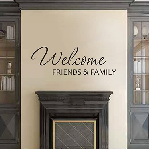 Vinyl Lettering Decal Inspirational Vinyl Wall Art Saying Quotes Removable Living Room Lettering Family Mural Decal Welcome Friends&Family£¨Small,Black£