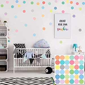 BATTOO Easy Peel + Stick Dots Wall Decals 36 Sorbet Colored Confetti Polka Dot Wall Decals 2