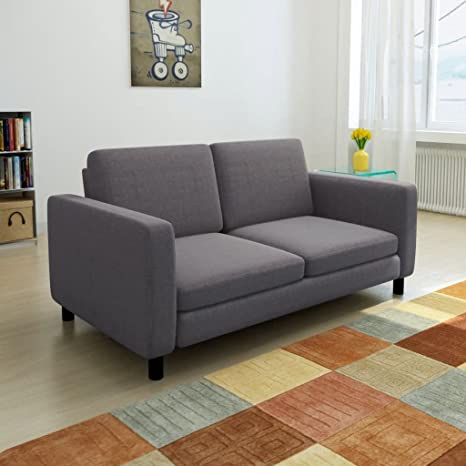 Amazon.com: Furniture Sofas Sofa 2-Seater Fabric Dark Gray ...