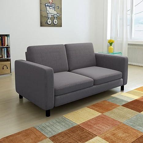 Amazon.com: Furniture Sofas Sofa 2-Seater Fabric Dark Gray ...