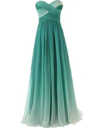 0dce68caf515 Ombre Chiffon Bridesmaid Dresses Strapless Ruched Prom Party Gowns (Jade)