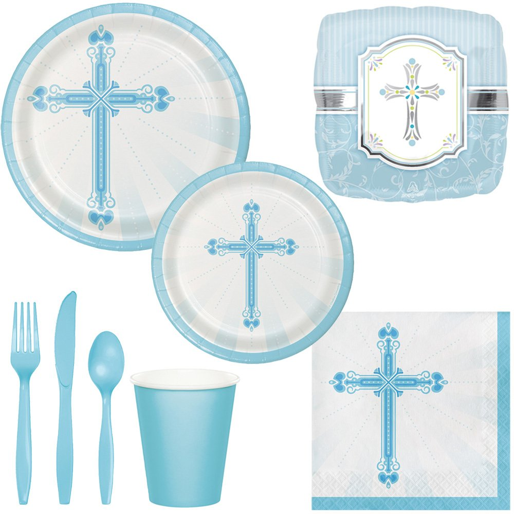 Boy Baptism Party Supplies for 18 Guests: Plates, Cups, Napkins, Silverware & Balloons