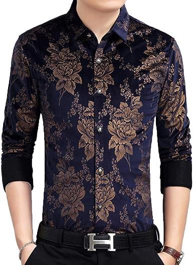 HL. Camisa De Hombre Fit Classic Paisley Shirt Camisa De Algodón Estampada De Manga Larga Casual Business, C-XXXL: Amazon.es: Ropa y accesorios