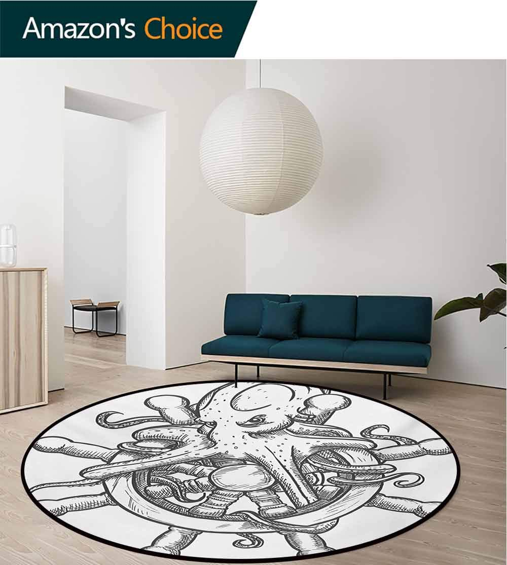RUGSMAT Octopus Dining Room Home Bedroom Carpet Floor Mat,Dangerous Octopus On Helm of Sailing Ship with Tentacles Around Handles Print Non Slip Rug,Diameter-35 Inch Black White