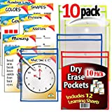iPrimio - Dry Erase Learning Pockets - Sheets (10 Pack) - Includes 12 Learning Sheets - Multicolored Pockets - Wipes Clean - Fits 9'' by 12'' Paper in Pocket