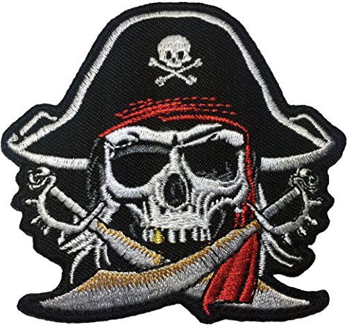 Skull Pirates Black Corsair Tooth Gold Cross Sword Patch Size 3 Inch Biker Heavy Metal Logo Jacket Vest Shirt Hat Blanket Backpack T-shirt Cloth Sign Costume Patches Embroidered Appliques Symbol
