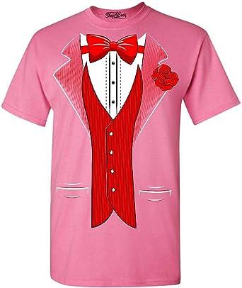 Shop4ever Classic - Camiseta de esmoquin con rosa roja para fiesta - Rosa - X-Large