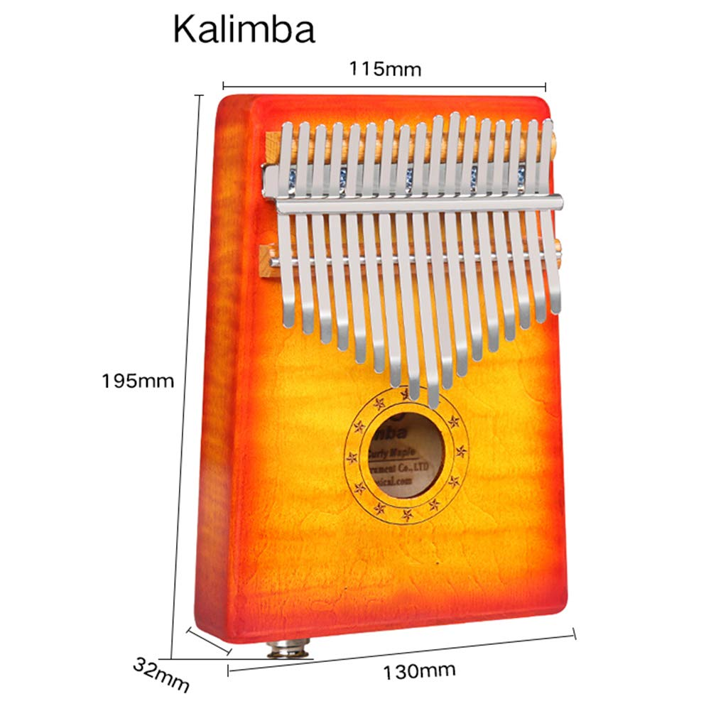 MG.QING Kalimba 17-Key Curly Maple Thumb Piano Built-in EVA Gigh Performance Protection with Pickup,Yellow by MG.QING (Image #6)