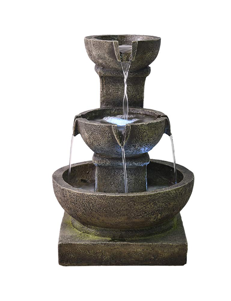 Modern Cascading Bowls 16 Inch Waterfall Floor Fountain, 3 Tiered Indoor Outdoor Faux Stone LED Floor Fountain, Patio Garden Backyard Fountain with Submersible Quiet Pump …