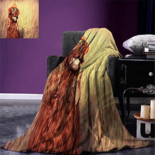 smallbeefly Animal Digital Printing Blanket Funny Retro Irish Setter Dog Wearing Hat and Sunglasses Humorous Joyful Picture Summer Quilt Comforter Redbrown Tan