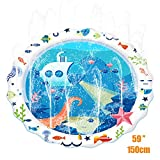 Termichy 150cm Sprinkle and Splash Water Play Mat, Inflatable Sprinkler Pad, Summer Spray Toys Perfect for Kids and Outdoor Family Activities (Submarine)