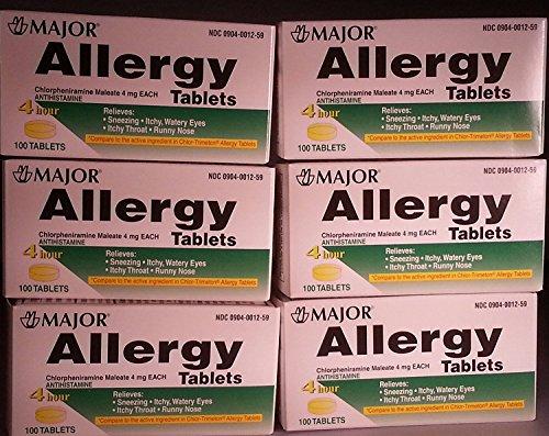 [6 Pack] Anti-allergy Antihistamine Chlorpheniramine Maleate 4 Mg Generic for Chlor-trimeton Allergy 100 Tablets Per Bottle 6 Pack Total 600 Tablets (Chlor Tab)
