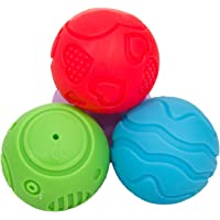BAYBEE Infunbebe Soft Plastic Textured Squeezy Squishy Bouncy Fidget Multi-Shape with Bright Colours BPA-Free Sensory Ball Set for Kids (Blue)