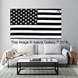 Black and White Twin Tapestry Hippie Wall Hanging Art Decor Single Mandala Tapestry Hippie Dorm 84X55 inches by Aakriti Gallery (Flag)