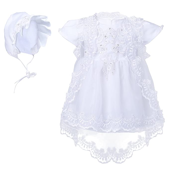 Amazon.com: Freebily Infant Baby Girls Embroidered Short Sleeve Tutu Princess Birthday Christening Baptism Dress With Bonnet Cape: Clothing