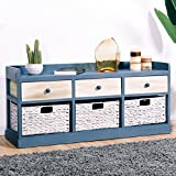 Giantex End Table w/Drawers and Baskets Beside Table Nightstand Wood Drawer Cabinet Home Office Collection Solid Wood Accent Storage Organizer (3 Drawers & 3 Baskets)