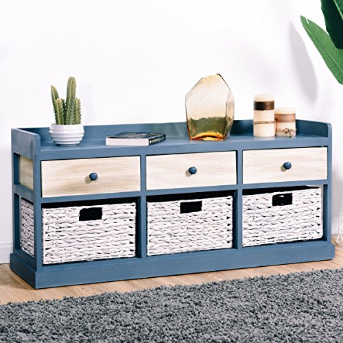 Giantex End Table w/Drawers and Baskets Beside Table Nightstand Wood Drawer Cabinet Home Office Collection Solid Wood Accent Storage Organizer (3 Drawers & 3 Baskets) by Giantex