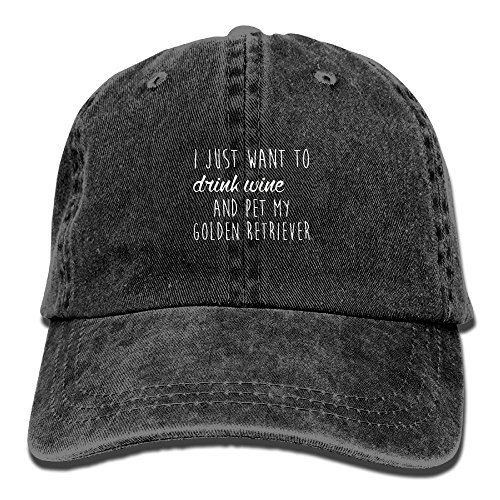 Golden Retriever Pets Cap - YueXiang I Just Want To Drink Wine and Pet My Golden Retriever Adjustable Washed Cap Cowboy Baseball Hat Black
