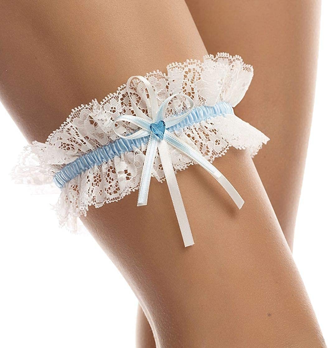 Bridal Garter - Wedding Lace Garter - Stretch - Bow With Sparkling  SWAROVSKI Heart - For Brides
