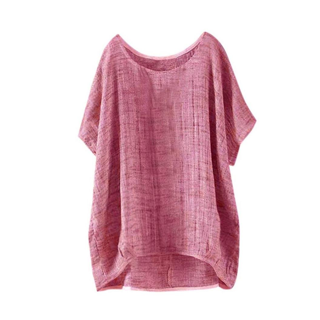 Summer Tops Shirts,Women Casual Loose T-Shirt Plus Size Long Sleeve Blouse Cotton Linen Tops Tee [On sale] (Red, 2XL/US 14)