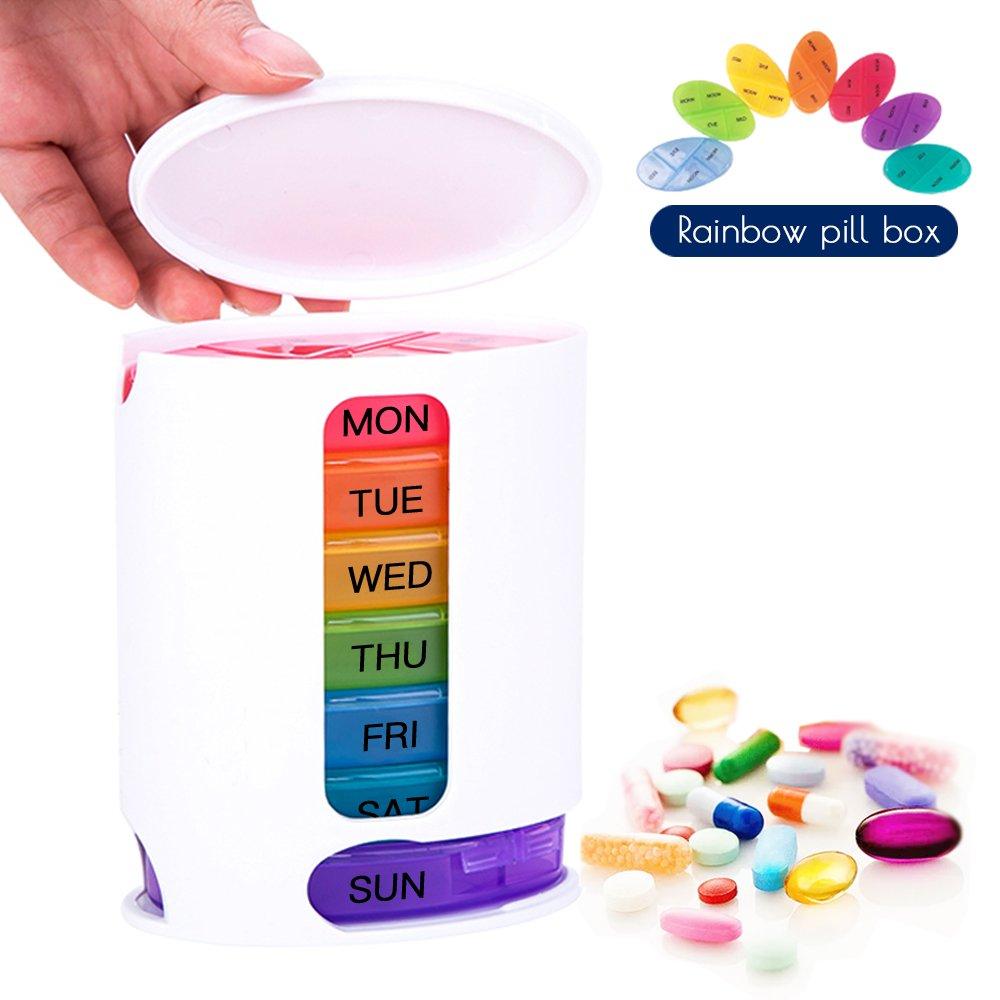 Coardor Settimanale PortaPillole Contenitore per Pillole con 7 Giorni Ogni Giorno con Scomparti per Mattino Pomeriggio Sera Notte Promemoria per Pillole 28 Scomparti Colorati e Trasparenti