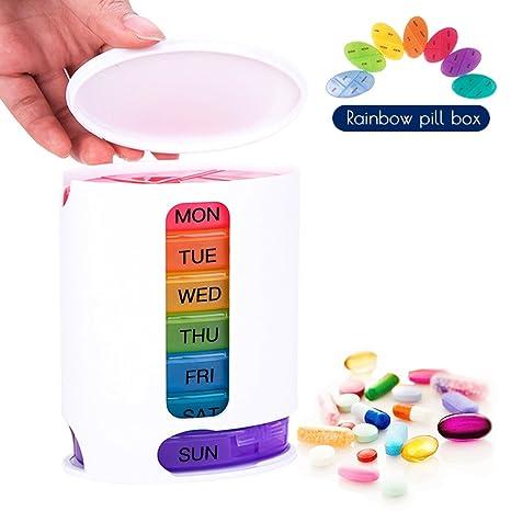 Coardor Caja de Pastillas Para 7 Días Píldoras Dispensador de Organizador Para Semanal Con 4 Compartimentos