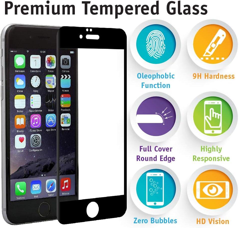 Pevita Protector de Pantalla Compatible con iPhone 6 / iPhone 6S. [2 Packs] Full Screen Black. Dureza 9H, Sin Burbujas, Fácil Instalación. Cristal ...