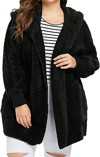 JESFFER Womens Plus Size Button Warm Sherpa Lined Shaggy Coat With Pockets Winter Jacket Fluffy Sweater Hooded Outwear