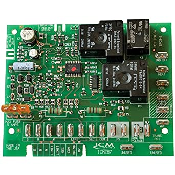 ICM Controls ICM287 Furnace Control Replacement for Goodman B18099 on furnace fan wiring, furnace capacitor wiring, furnace control wiring, home furnace wiring, old gas furnace wiring, furnace valve wiring, furnace control board for whirlpool, furnace motor wiring, heil furnace wiring, american standard furnace wiring, furnace computer board, furnace terminal board, furnace control board cross reference,